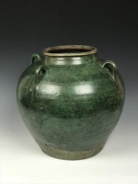 中国 緑釉四耳壺