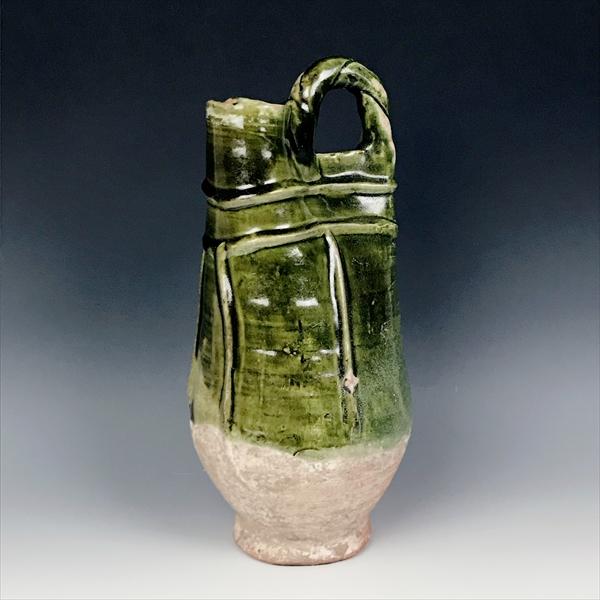 中国 遼緑釉手付皮袋壺