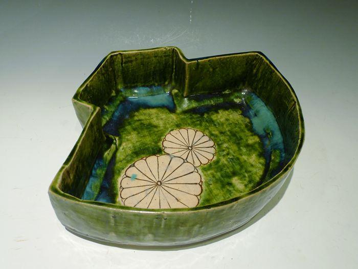 織部 菊文扇面菓子鉢