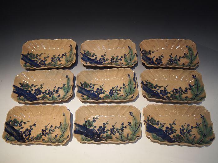 古清水 色絵松梅変形皿 9枚組
