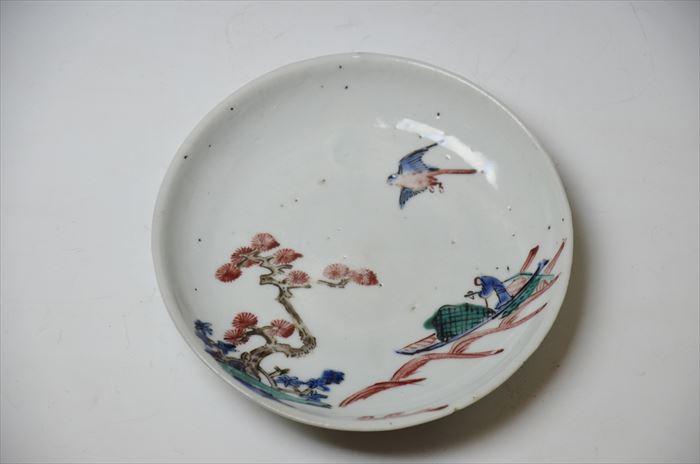 伊万里 古九谷様式色絵松舟鳥文小皿