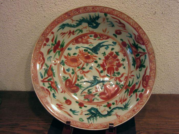 中国 呉須赤絵龍鳳凰文大鉢