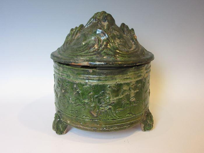 中国 漢緑釉大博山炉