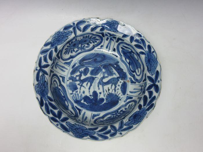 古染付芙蓉手鹿文菓子鉢