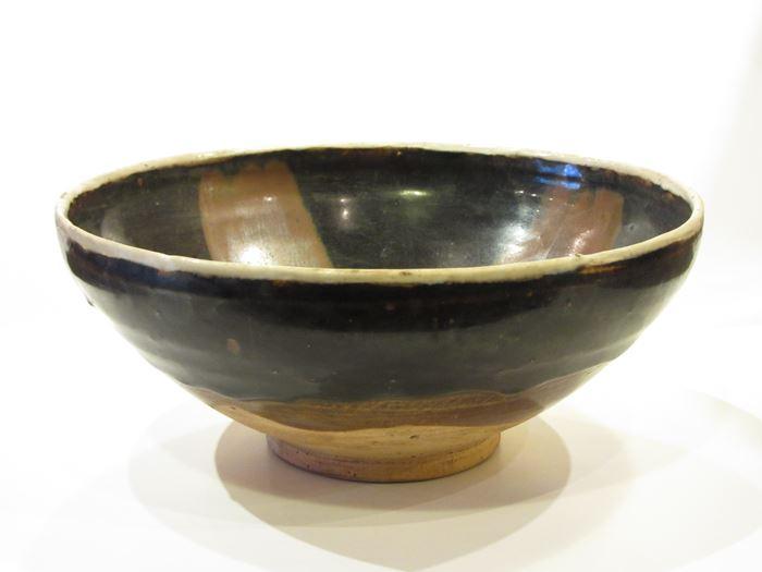 中国 磁州窯白覆輪天目柿釉流鉢