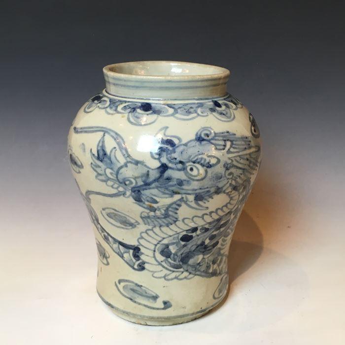 李朝 染付龍文花瓶