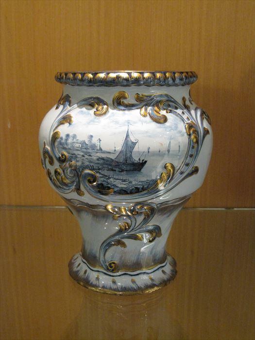 ガレ ファイアンス水辺風景花虫文花瓶