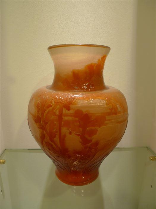 エミール・ガレ ファイアーポリッシュ被せガラス森文花瓶