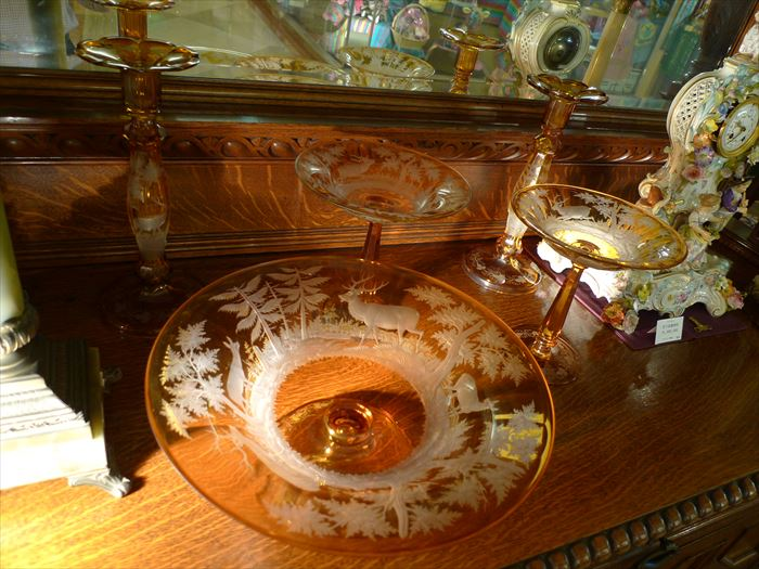 ボヘミアンガラス アンバーテーブルセット