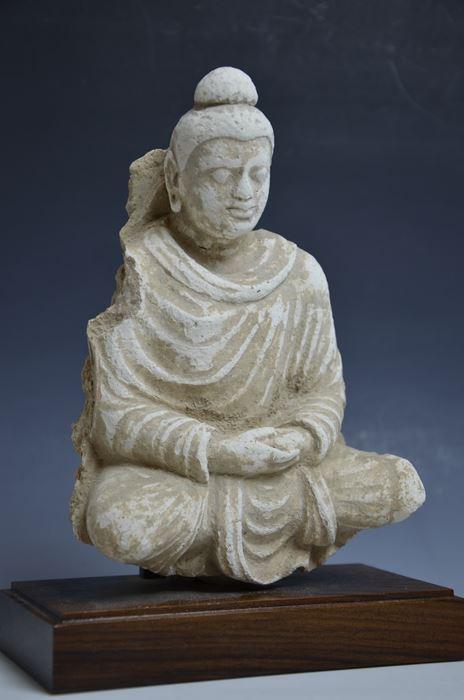 ガンダーラ ハッダ地方ストッコ菩薩坐像レリーフ